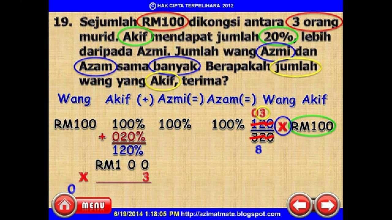 matematik upsr peratus wang dan kbat