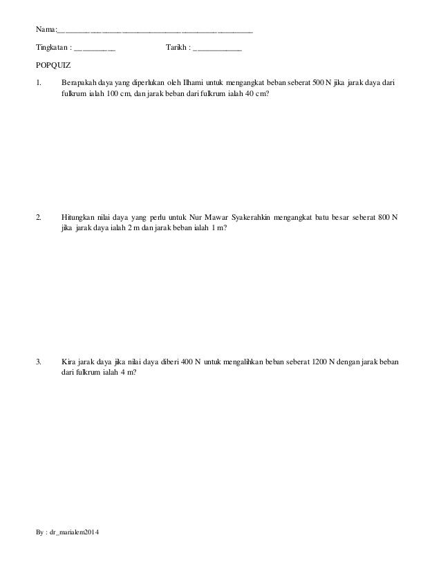 Latihan Sains Tingkatan 3 Power Kuiz Bab Hukum Tuas Sains Ting 2 Bab 10 Of Bermacam-macam Latihan Sains Tingkatan 3 Yang Bermanfaat Khas Untuk Ibubapa Dapatkan!