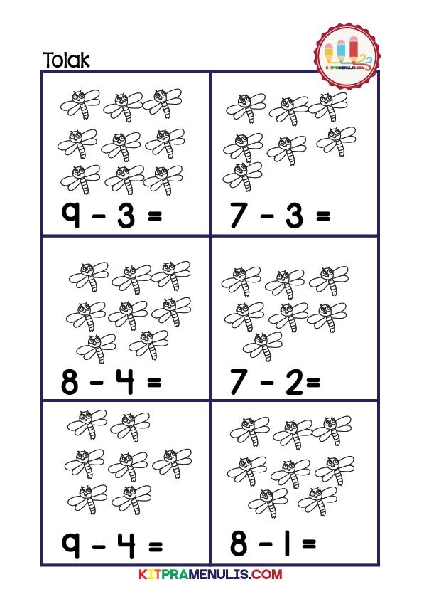 latihan matematik operasi tolak prasekolah