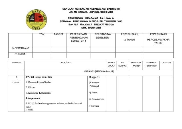Download Rpt Pendidikan Muzik Tingkatan 3 Baik Rancangan Pengajaran Tahunan Bahasa Malaysia Ting 2 2015 Of Himpunan Rpt Pendidikan Muzik Tingkatan 3 Yang Menarik Khas Untuk Para Guru Dapatkan!