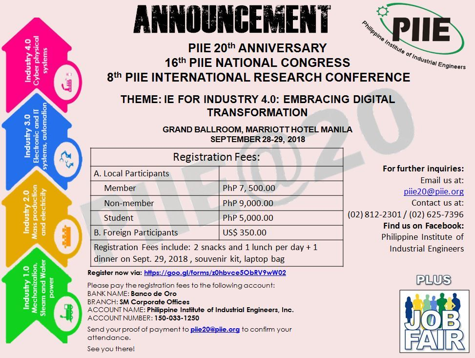 announcement piie 20th anniversary 16th piie national congress and 8th piie international research conference
