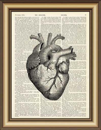 jantung anatomi kamus kanvas lukisan wall art print poster gambar dekorasi rumah antik buku halaman cetak