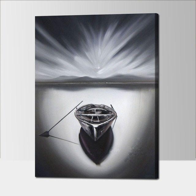 Lukisan Perahu Kertas Baik Hitam Dan Putih Abstrak Lukisan Minyak Perahu Dekorasi Rumah Modern