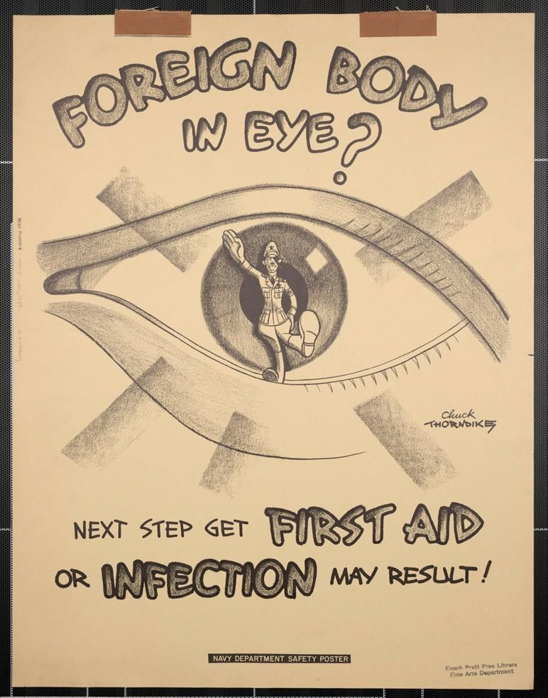 foreign body in eye next step get first aid or infection may result wwii propaganda poster