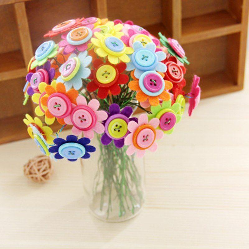 anak diy tombol bouquet bunga craft kit guru tk mainan tombol bunga buatan tangan kreatif festival hadiah untuk anak anak di teka teki dari mainan hobi