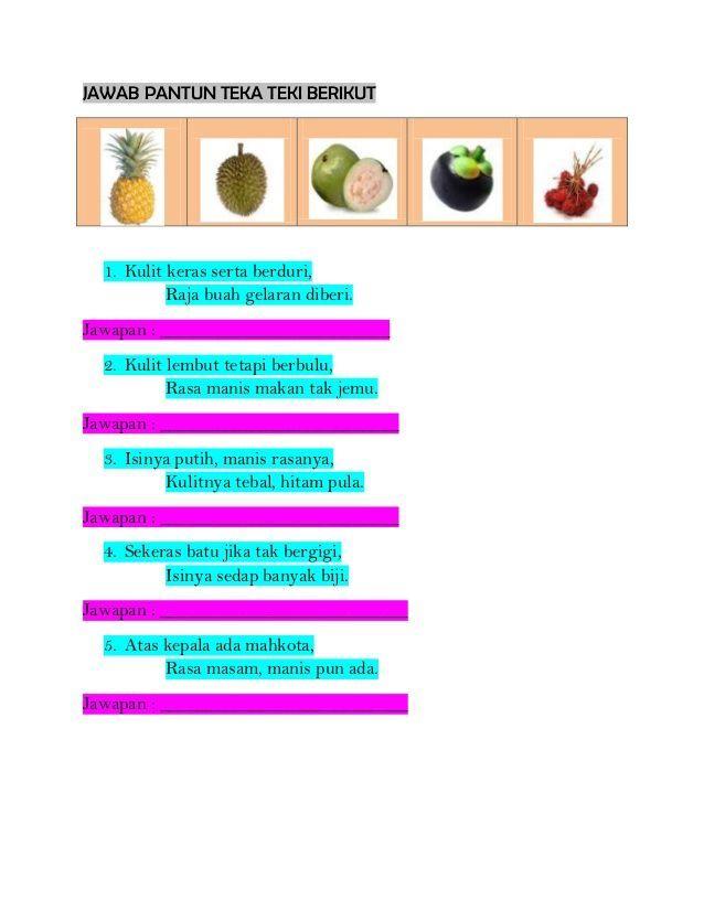 contoh teka teki kanak kanak buah buahan yang hebat untuk murid of pelbagai contoh teka teki