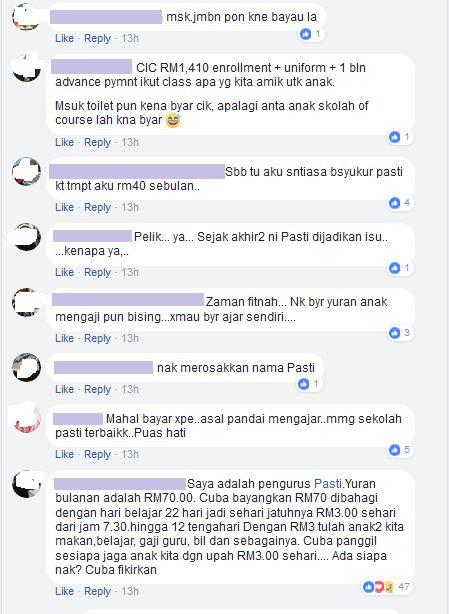 si mezah ni masih tak puas hati dia naikkan pula status di laman facebook peribadinya membandingkan harga yuran di tadika pasti terengganu rm610 tapi di