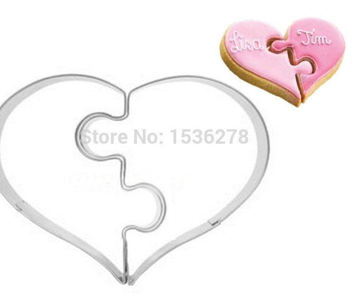 kiri kanan jantung cinta teka teki pernikahan hari valentine stainless steel biskuit cookies mold mold a263