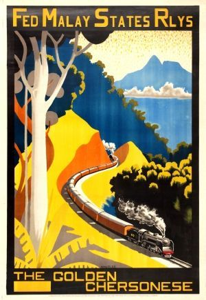 malaysia golden chersonese malay states railways 1933 original vintage poster by hugh m le fleming listed on antikbar co uk