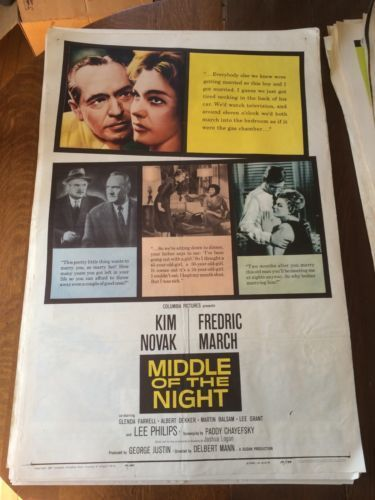 art 1959 middle of the night kim novak rare original one sheet movie poster please
