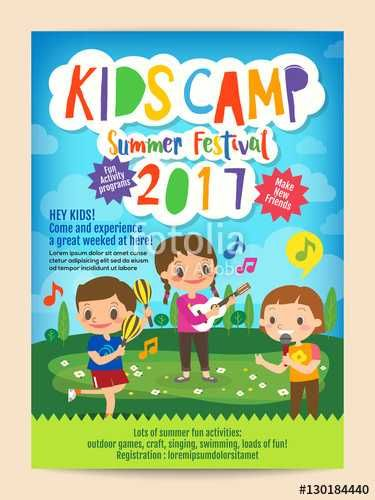 kids summer camp education advertising poster flyer template with illustration of children singing and playing music