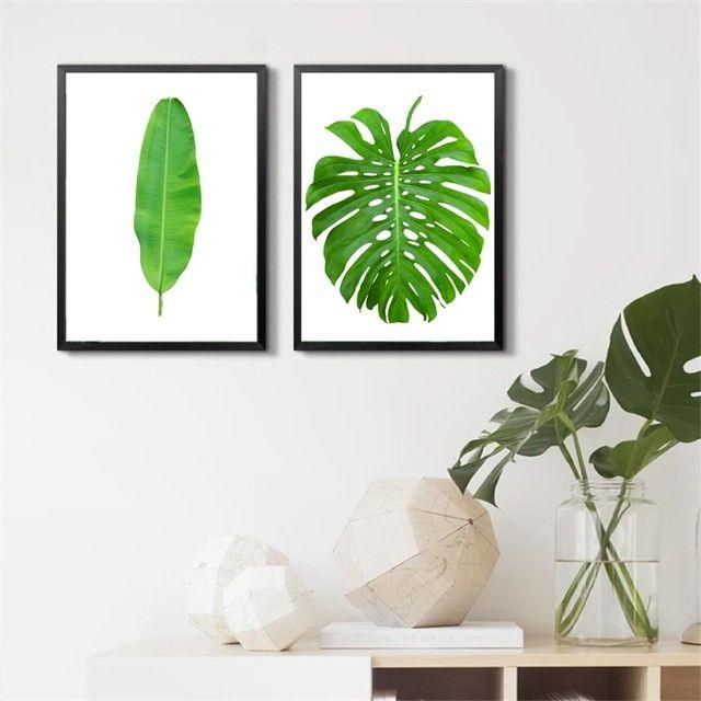 tanaman tropis daun pisang kanvas seni cetak poster hijau botanical seni kanvas lukisan dinding gambar alam
