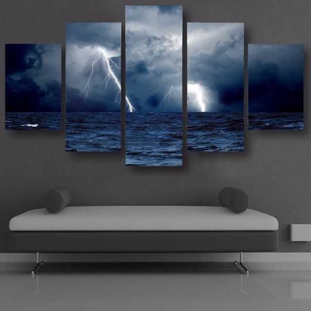 painting poster wall art living room printed pictures 5 panel sea waves storm lightning ocean modern hd frame home decor canvas