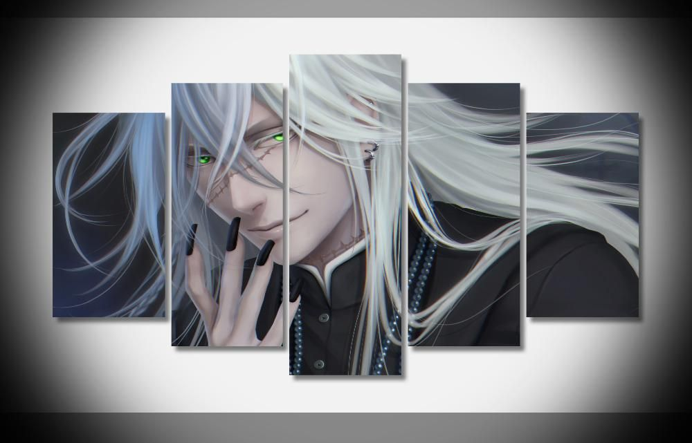 2019 7057 black butler face scar white hair anime character wallpapersbyte poster framed gallery wrap art print home wall decor wall from yuntengfu44190