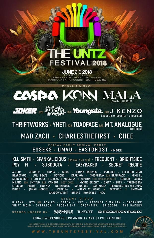 Poster Gathering Penting the Untz Festival Releases their 2018 Lineup Festival Lineups