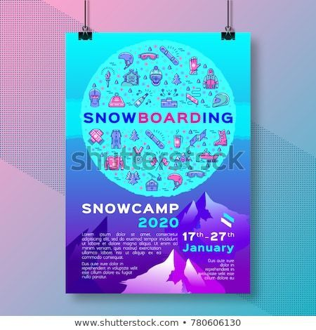 snowboarding template poster winter sport snow camp flyer or card design mock