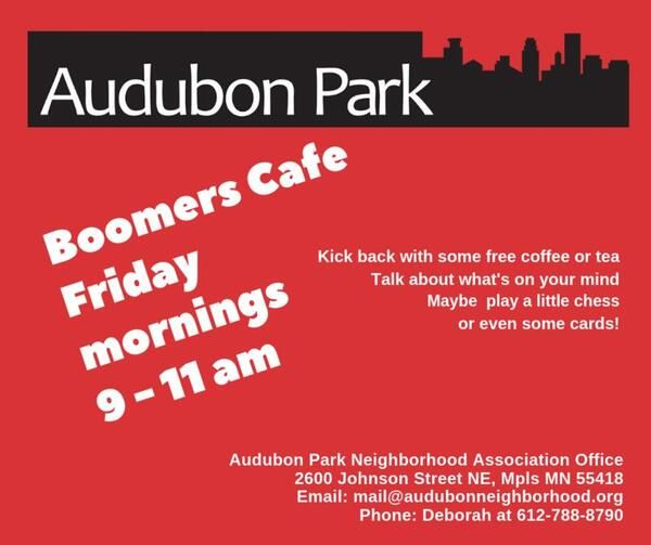 audubon park boomers cafe fridays from 9 to 11am