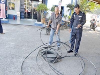 lelaki ditahan kes curi kabel di hulu besut