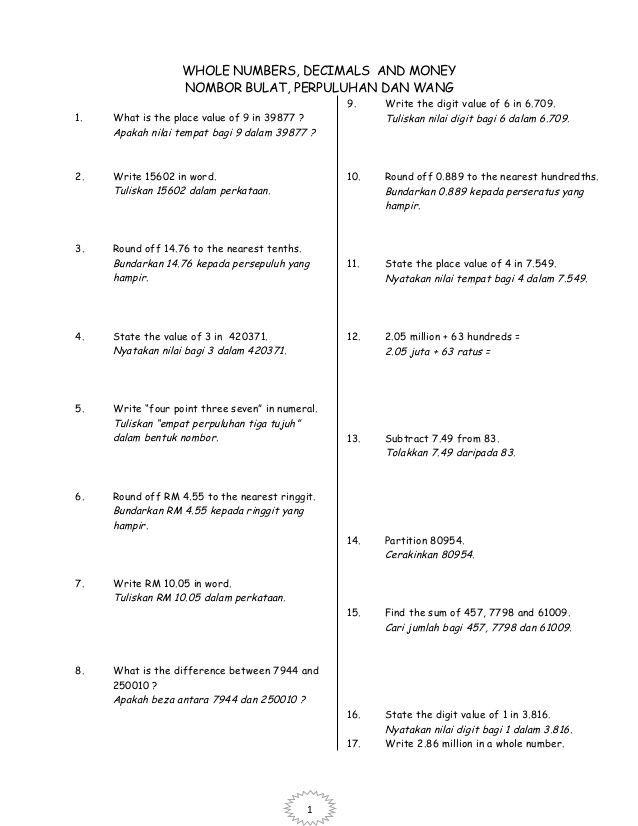 modul intensif 2013 matematik tahun 6 1 whole numbers decimals and money nombor bulat perpuluhan dan