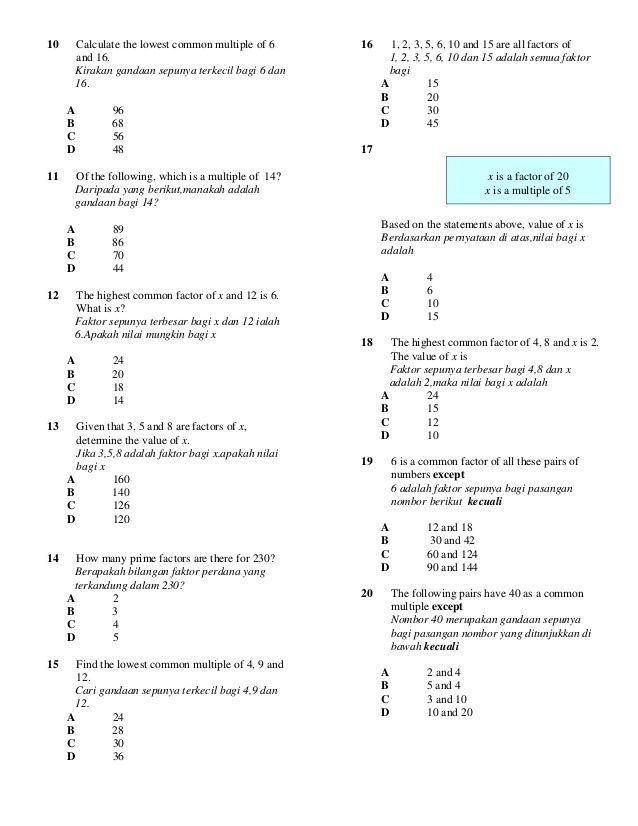 contoh teka teki matematik sekolah rendah yang baik untuk ibubapa