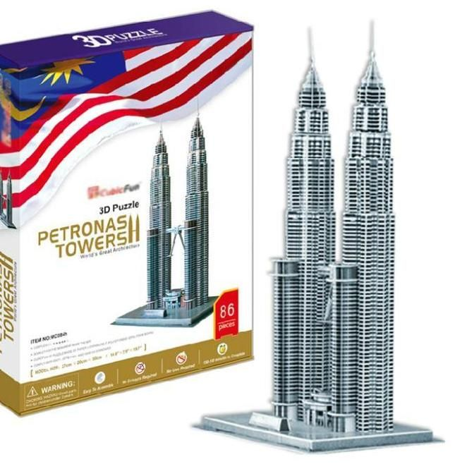 menara petronas malaysia hardcover edisi t0473 3d teka teki diy building paper model anak kreatif hadiah mainan pendidikan