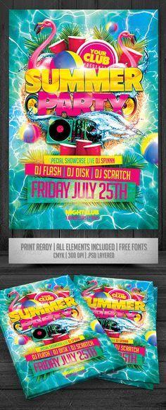 summer party flyer events flyers summer beach party summer parties flyer design templates