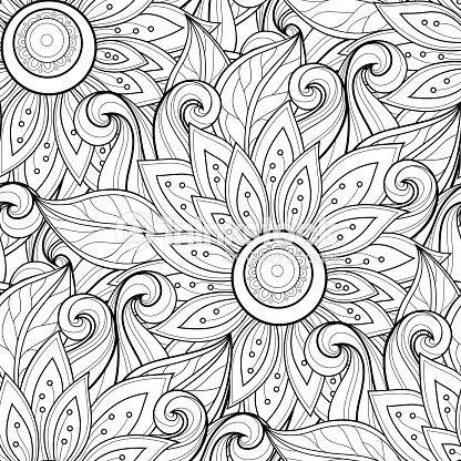 vector seamless monochrome floral pattern vector art