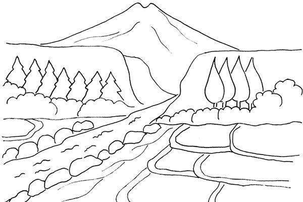 gambar mewarna pemandangan sungai yang mengalir di tepi sawah berdekatan gunung