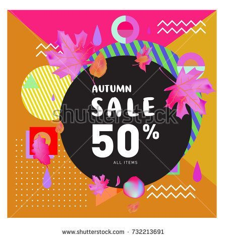 autumn sale memphis style web banner fashion and travel discount poster vector holiday abstract
