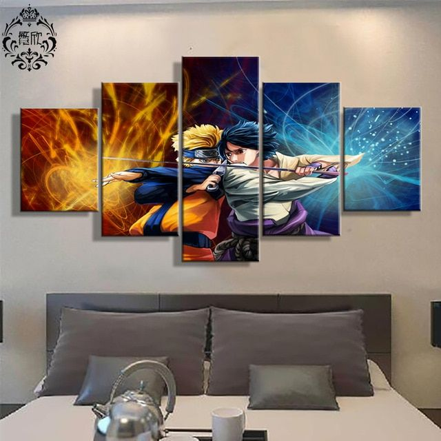 5 panel wall art poster naruto and sasuke canvas painting animation pictures home decoration canvas printed pictures cuadros