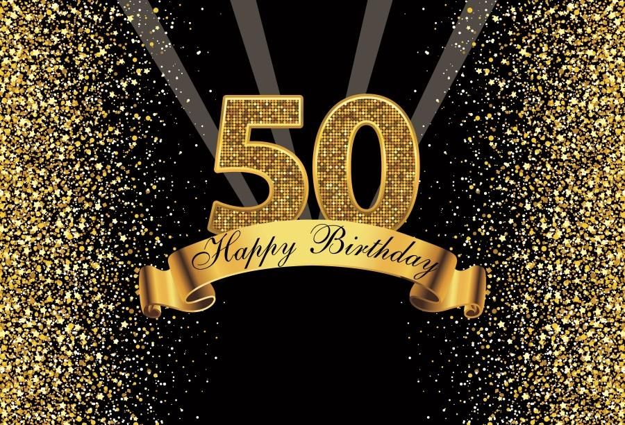 New Year Poster Hebat 2019 Happy Gold Happy 50th Birthday Party Dots Sequins Banner Poster