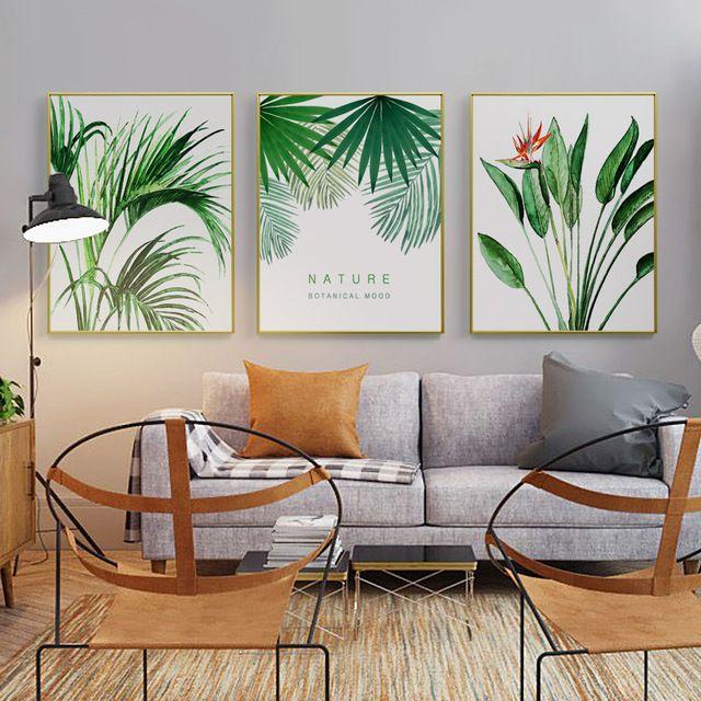modern tanaman hijau daun logam bingkai foto poster print floral bunga bingkai foto lukisan dinding gambar