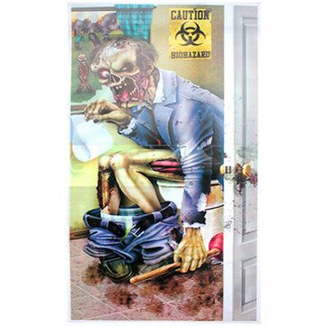 zombie toilet pintu penutup dekorasi halloween party horor creepy scary poster