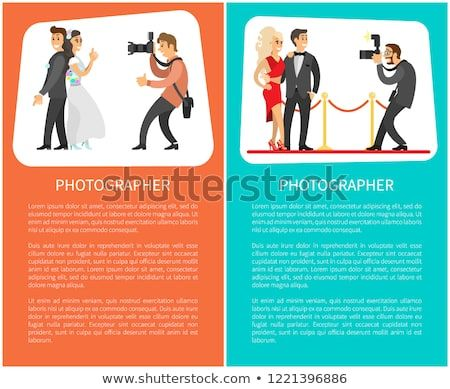 wedding photographer and paparazzi posters with text bride next to groom celebrities couple