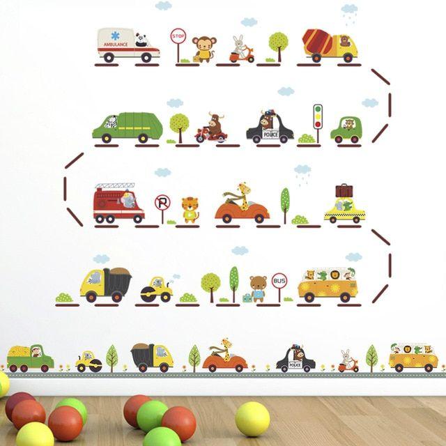 diy kartun hewan drive mobil jalan raya wall stiker untuk anak kamar nursery tk bayi hadiah