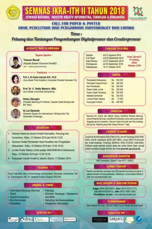 seminar nasional industri kreatif informatika teknologi dan humaniora semnas ikra ith ke