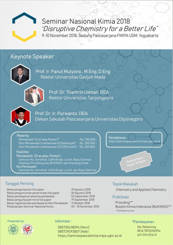 seminar nasional kimia 2018 disruptive chemistry for a better life