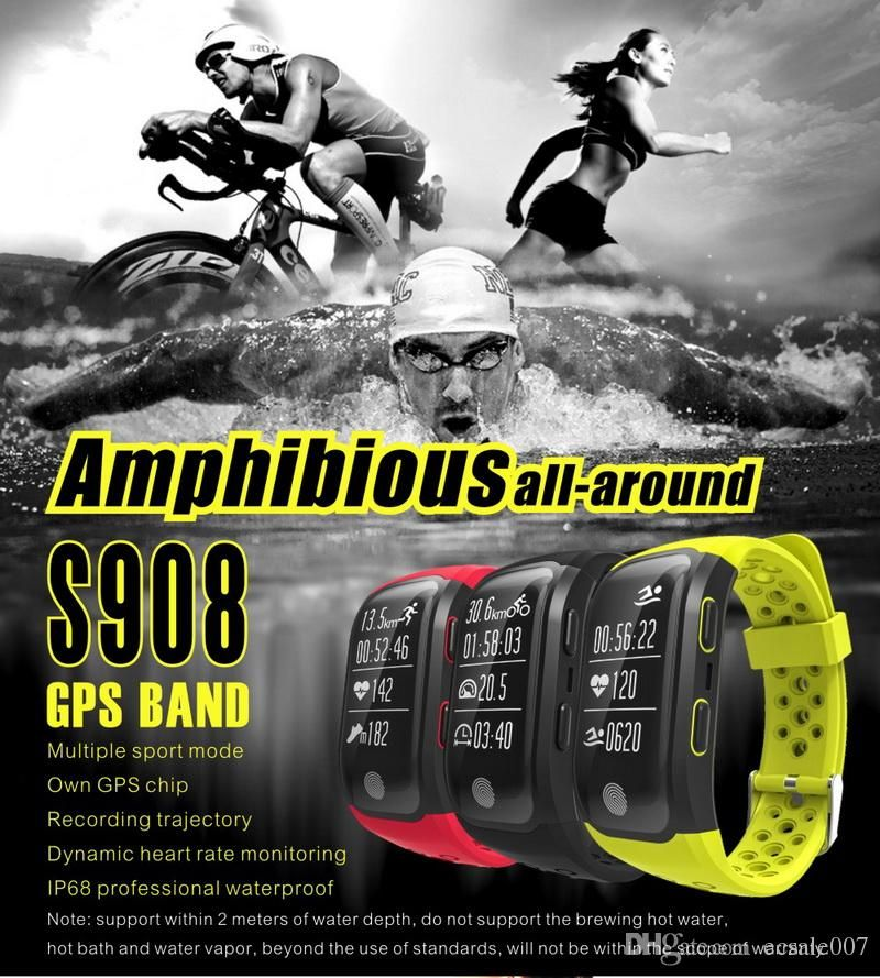 s908 gps smartband heart rate monitor sedentary reminder pedometer ip68 waterproof sport smart wristband for androis ios black wristbands bracelets silicone