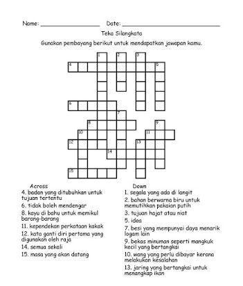 contoh teka silang kata bahasa melayu sekolah rendah berguna pelbagai objektif teka silang kata yang sangat