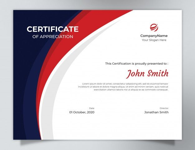 dark blue red waves certificate template with polygon pattern